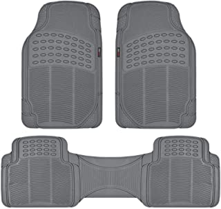 Motor Trend MT883GRAMw1 Flex Tough Rubber Floor Mats for Car & SUV - 100% Odorless & All Weather Heavy Duty, Gray