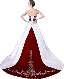 Amazon Com Red And White Wedding Gown