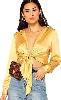 Women's Long Sleeve Self Tie Knot Front Satin Crop Top Blouse Shirt