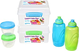 Sistema 82007 to Go Kids Lunch Boxes & Meal Containers | 2 Twist 'n' Sip Kids Water Bottles, 2 Lunch Cube Max with Divider...