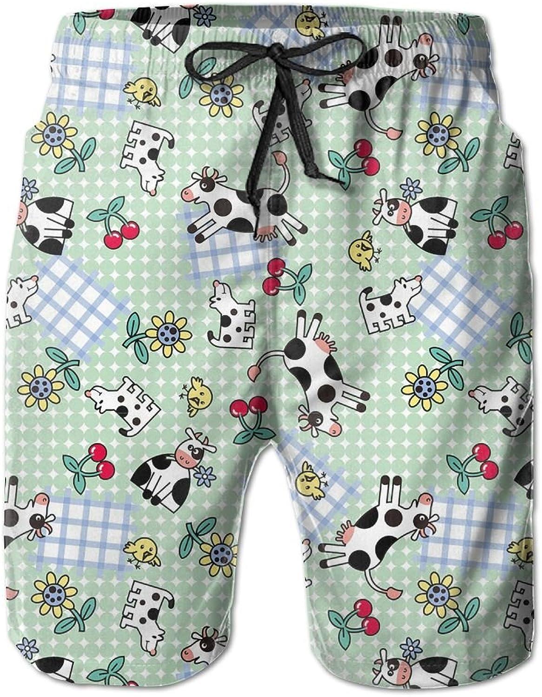 cc6e7f514b5 Quick Dry Men's Beach Board Shorts Cute Cute Cute Cow Pattern Surfing Swim  Trunks Beachwear With Pockets 6dae7b