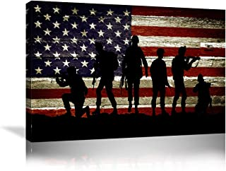 Urttiiyy American Flag Military Soldiers Army Wall Art Canvas Prints Thin Blue Red Line Home Decor Pictures for Living Room Bedroom Painting Framed Ready to Hang