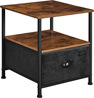 SONGMICS Nightstand, 3-Tier Bedside Table with Drawer, 2 Shelves, Fabric Drawer Dresser, Industrial End Table, for Living ...