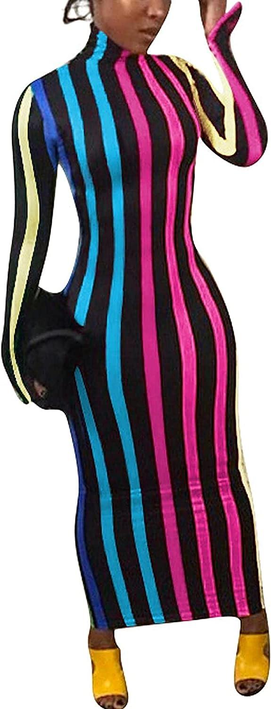 MRENVWS Women's Turtleneck Long Sleeve Maxi Dress Vertical Striped Tunic Bodycon Long Pencil Slim Sheath Club Outfits
