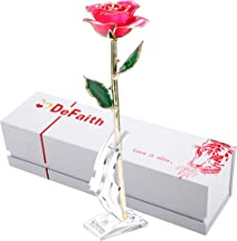 DEFAITH Real Rose 24K Gold Dipped, Forever Gifts for Her Valentine's Day Anniversary Wedding and Proposal - Pink with Stand