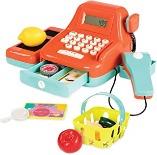 Battat Cash Register Toy Playset – Pretend Play Kids Calculator Cash Register with Accessories for 3+ (26-Pieces)