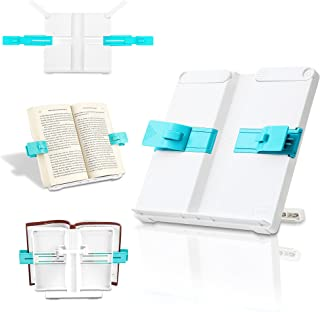 Book Stand Adjustable Book Holder for Reading Hands Free, Portable Cookbook Stand with Paper Clip