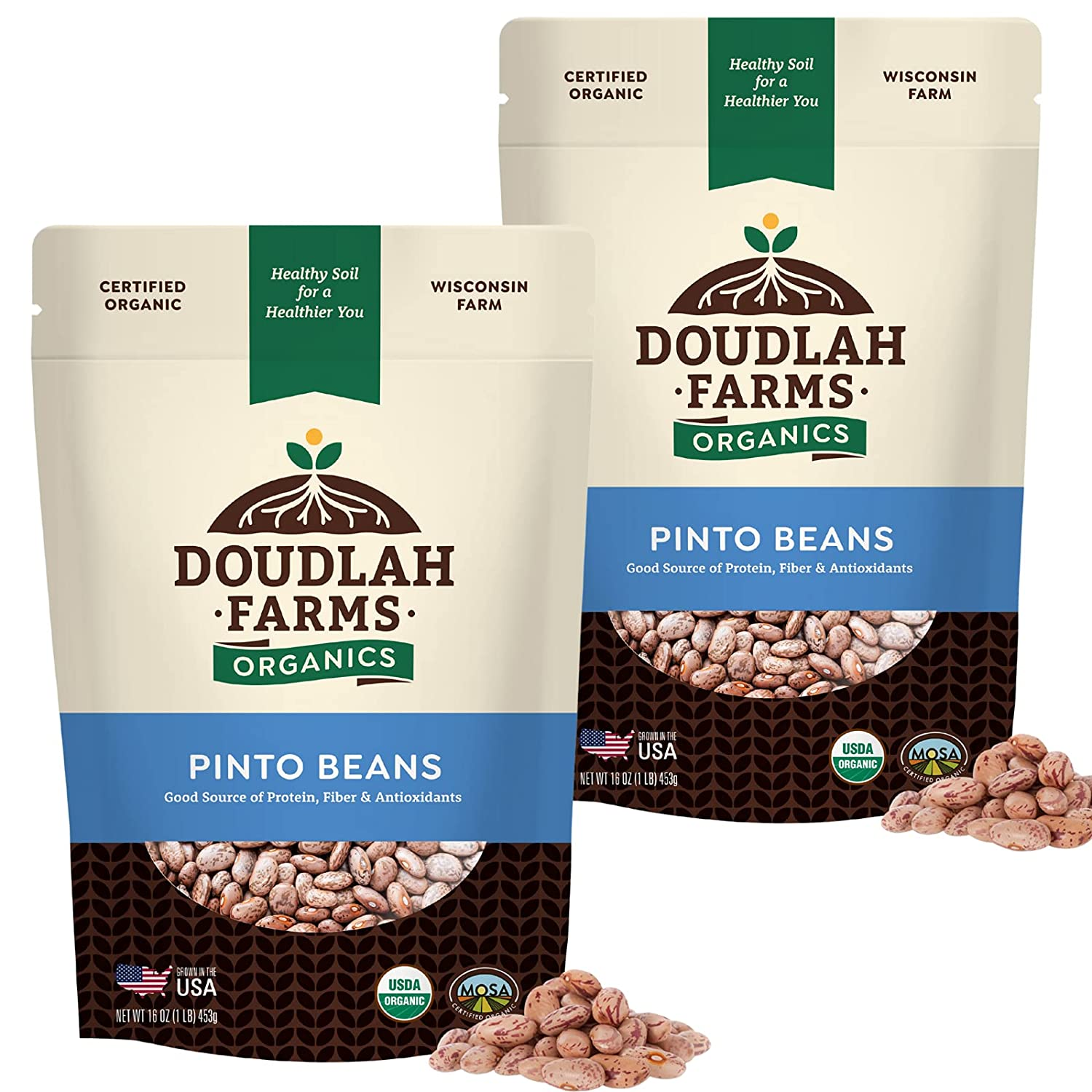 Organic Pinto Beans Dry by Doudlah Non- Pure 2021 new Farms Grown - USA Recommendation