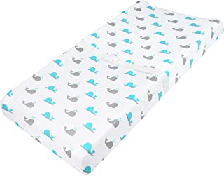 TL Care Printed 100% Natural Cotton Jersey Knit Fitted Contoured Changing Table Pad Cover, Aqua Whale, Soft Breathable, fo...