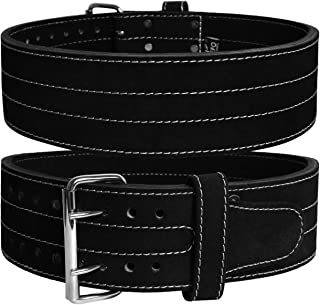 Jayefo Leather Power Lifting Belt {10MM Thick} {4 inches Wide} {Double Prong } { Single Prong } Weight Lifting Bodybuildin...