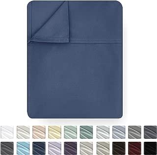 California Design Den Flat Top Sheet Only - King Size Indigo Batik Color 400-Thread-Count Luxury Soft 100% Cotton Sateen Weave Bedding - Best Hotel Quality Cool Flat Sheet