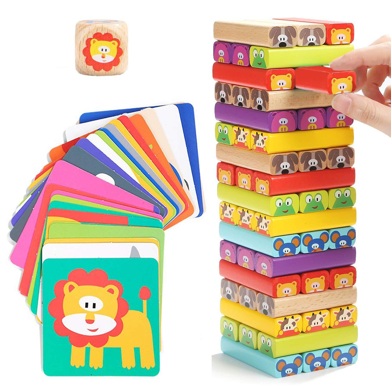 Nene Toys - Torre de Bloques Infantil de Madera 4 en 1 con Colores y Animales – Juego