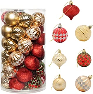 """CHICHIC 41ct 2.36"""" Christmas Ball Ornaments Christmas Tree Balls Decorations Shatterproof Christmas Ornaments Bulbs Sets for Holiday Wedding Party Decoration Tree Ornaments Hooks Included, Red Gold"""