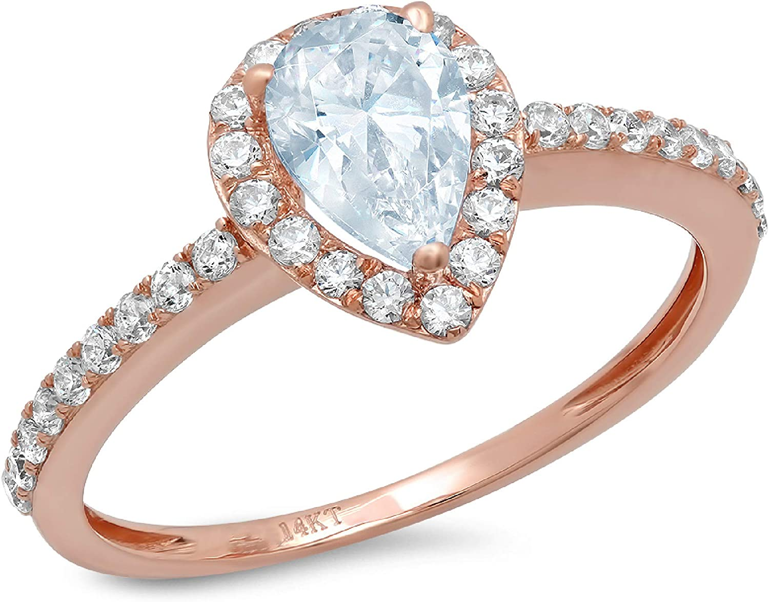 1.19ct Brilliant Pear Cut Solitaire with accent Aquamarine Blue Simulated Diamond CZ VVS1 Designer Modern Statement Ring Real Solid 14k Rose Gold Clara Pucci