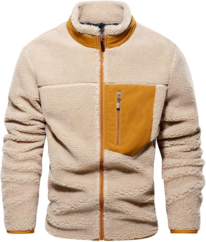 Hoodies for Men Men's Winter Hoodies Stitching Long Sleeve Stand-up Collar Casual Jackets Fleece Hooded Crewneck Sweater