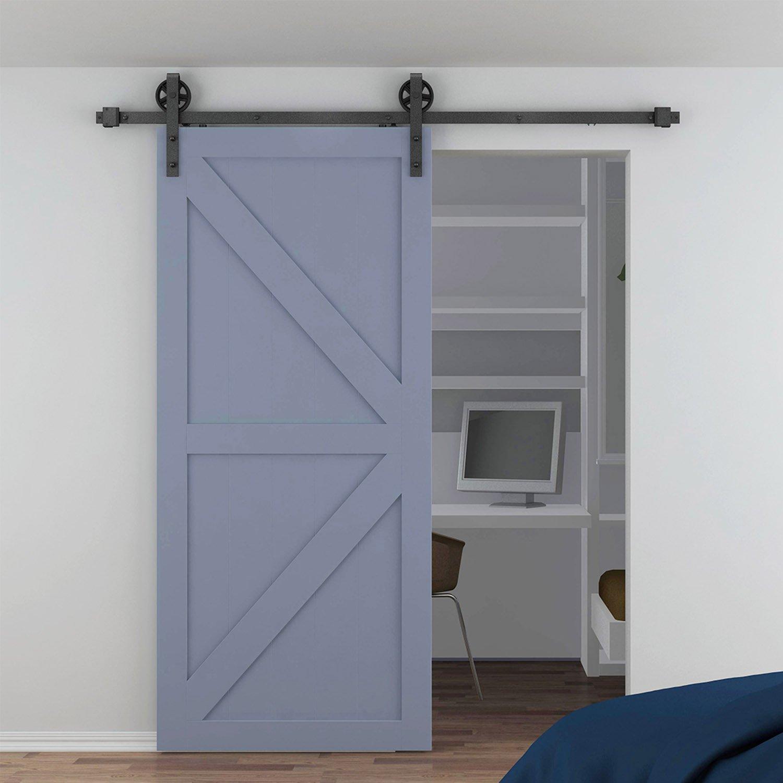 Togu tg-9026 5 ft (forma de J) (puerta) Retro estilo Kit de puerta corrediza de granero Hardware para madera maciza, puertas de cristal mate acabado en negro: Amazon.es: Bricolaje y herramientas