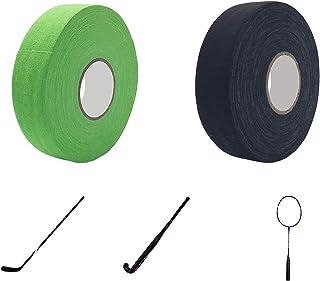 2 rullar hockeybandpinne, grepptejp fält ishockeytejp, tyg hockeytejp, halkfri hockeystickstick-grepptejp, lätt att sträck...