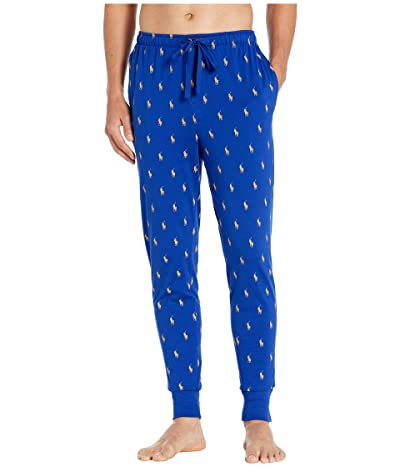 Polo Ralph Lauren Knit Covered Waistband Jogger Pants (Heritage Royal/Gold Bugle All Over Pony Print) Men