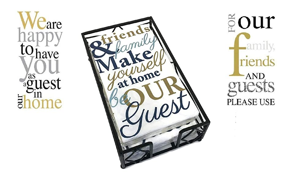 Black Wave Caddy Guest Towel Holder with A Set Of 3 Packages of 16 ct each Warm Welcoming Message Designs Disposable Premium 2-ply Guest Towels Decorative Bathroom Napkins