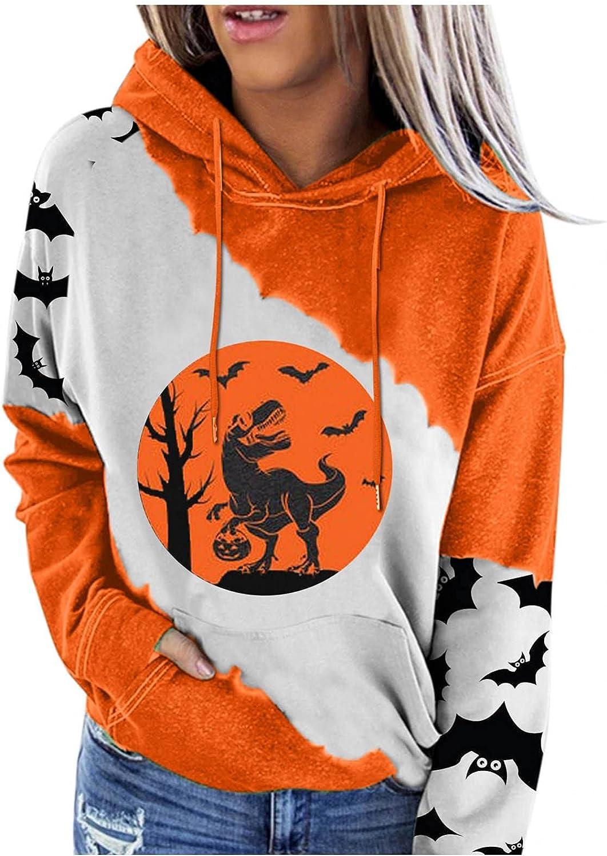 Womens Hoodies, Womens Halloween Sweatshirt Casual Long Sleeve Drawstring Pumpkin Face Pullover Cute Blouse Tops