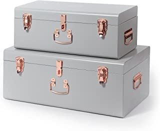 Beautify Gray Vintage Style Steel Metal Storage Trunk Set Lockable and Decorative with Rose Gold Handles - College Dorm & Bedroom Footlocker Trunks