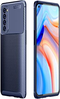 Mobile Phone Protective Case Compatible for OPPO Reno4 4G Global Official Version Carbon Fiber Texture Shockproof TPU Case...