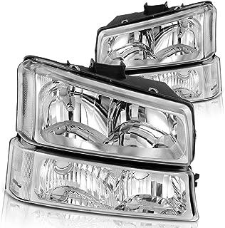 Headlight Assembly for 2003 2004 2005 2006 Chevy Avalanche Silverado 1500 2500 3500/2007 Chevrolet Silverado Classic Pickup Headlamp,Chrome Housing with Turn Signal Bumper Lamp