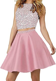 7b5f296c8269 Pretygirl Women's Two Pieces Short Beaded Prom Homecoming Party Dresses for  Juniors