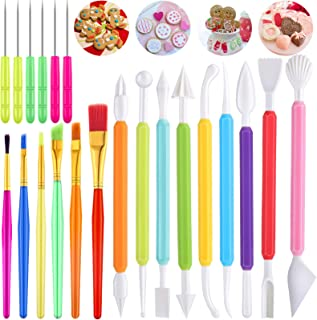 21 Pieces Cookie Decorating Tools Set, Include Cake Decoration Brushes, Sugar Stir Needle Cookie Scriber Needles and Fonda...