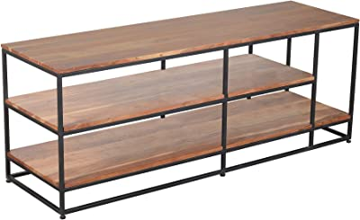 Tup The Urban Port 3 Tier Metal Framed Entertainment Unit with Wooden Shelves, Brown and Black