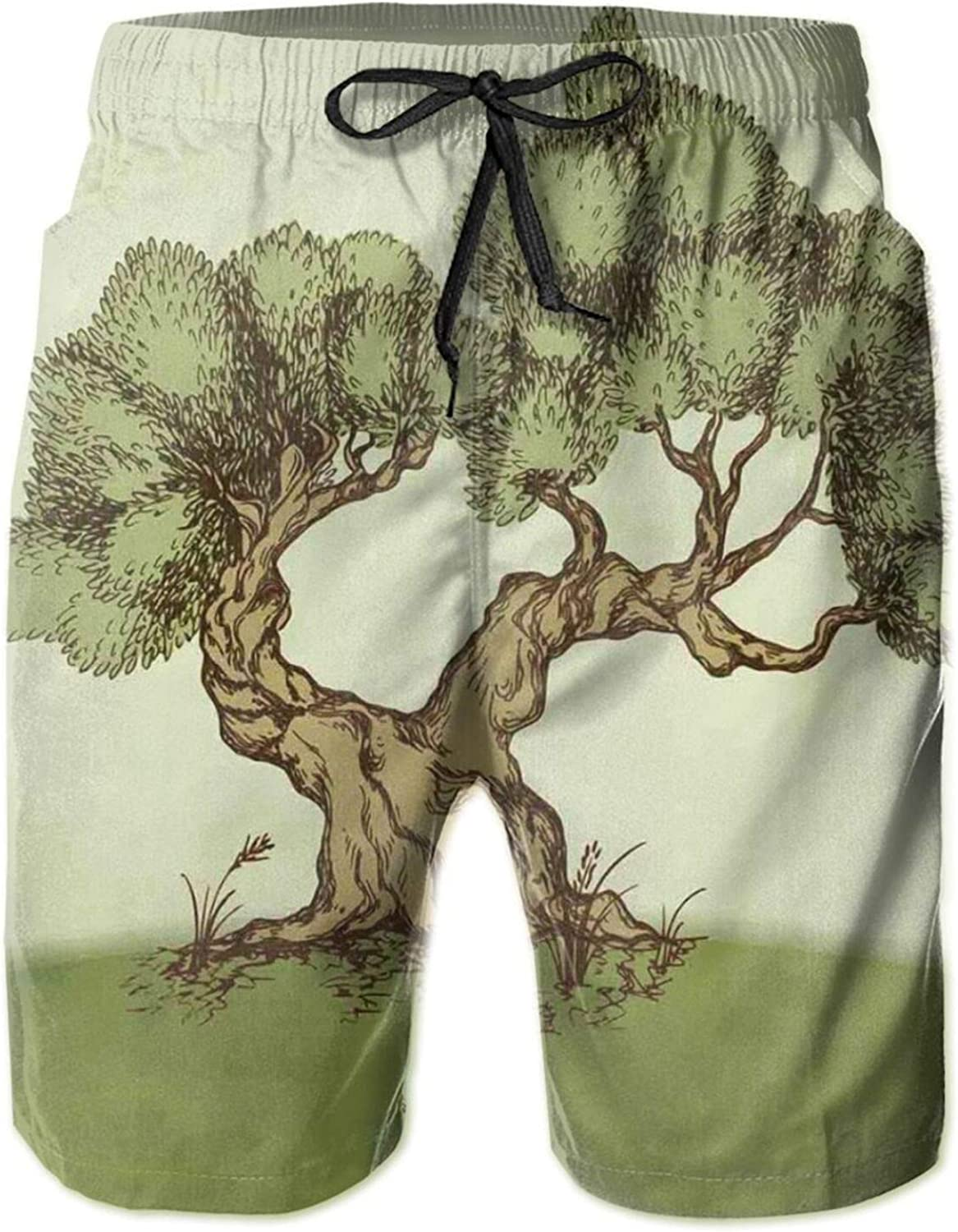 Hand Drawn Olive Tree On A Hill Sketch Nature Design Spring Drawstring Waist Beach Shorts for Men Swim Trucks Board Shorts with Mesh Lining,L