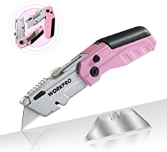 WORKPRO Folding Utility Knife, Quick-Change Pink Box Cutter with Blade Storage Compartment Hidden in Lightweight Aluminum Die-cast Handle, 12 Extra Blades Included - Pink Ribbon