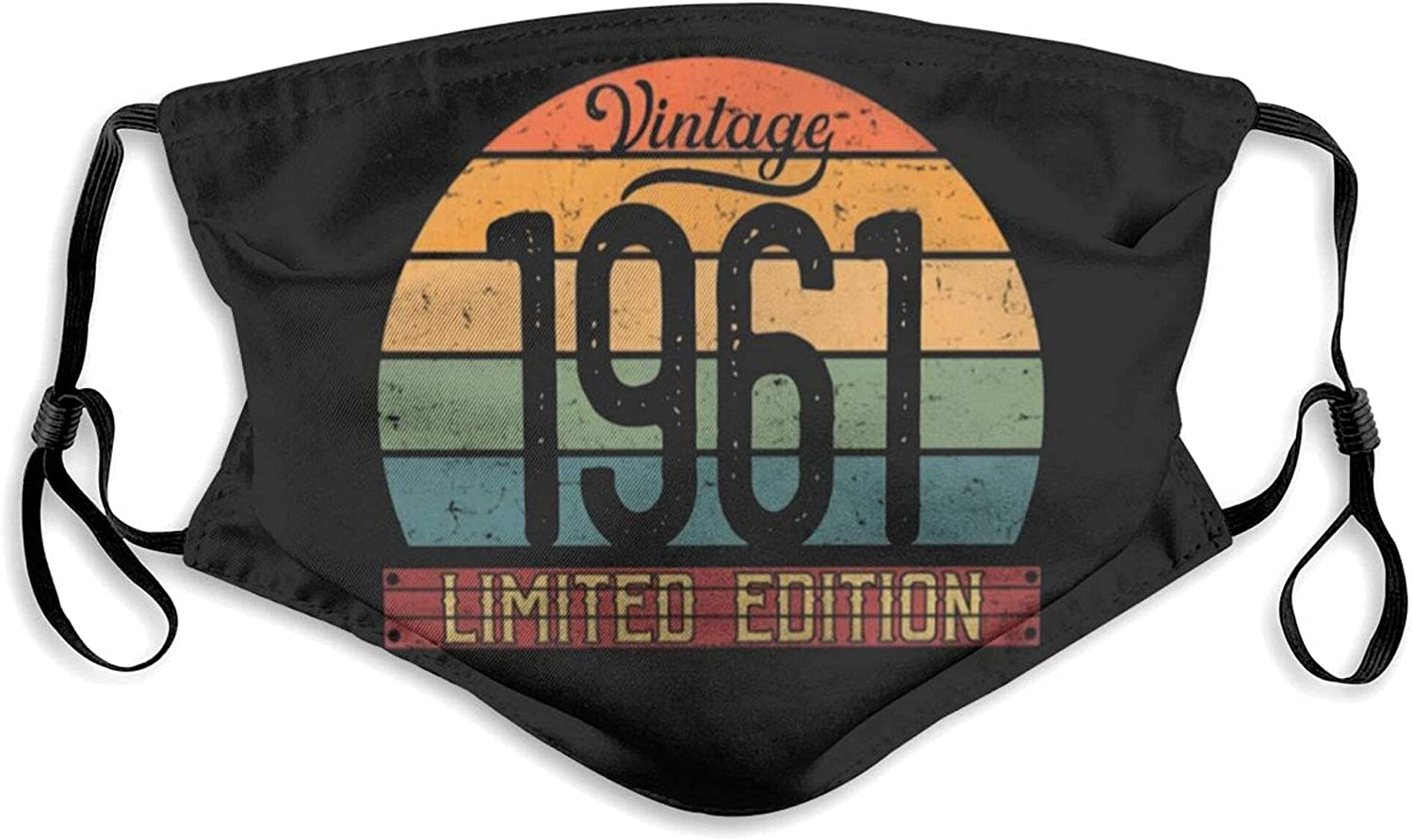 Vintage 1961 Birthday Gift Face Mask, Reusable Washable Cloth Anti Dust Cloth Bandanas Breathable Balaclava for Dust Outdoors Men and Women