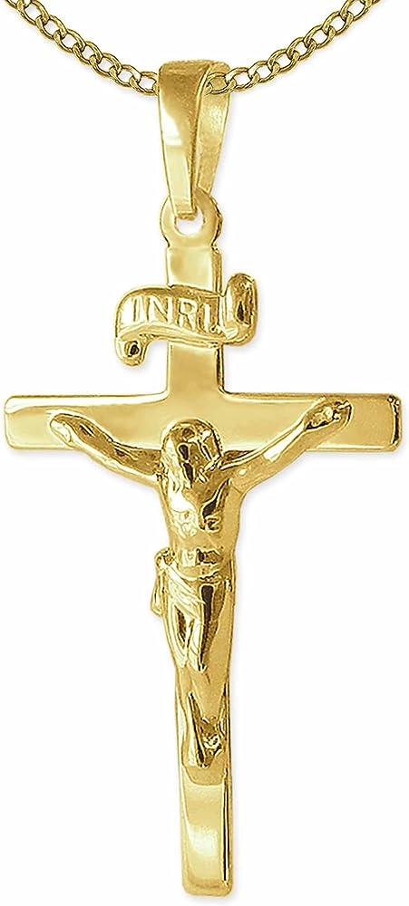 Clever schmuck  collana in oro 8ct/333 con pendente a forma di crocifisso ahg981__pkgweit-1,6mm-45cm