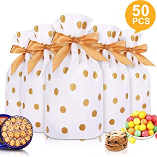 """50pcs Candy Cookies Drawstring Gift Bags 7""""×4"""", Plastic Treat Bags with Bow-Tie for Christmas Birthday Wedding Party Favor,P"""