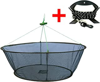 EASY BIG Foldable Fishing Net Hand Net - Crab Net Fish Net with Fishing Rope and Handle for Fishes, Shrimps, Crabs