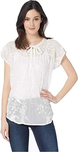 Grace Gossamer Embroidery Rayon Blend Short Sleeve Prarie Top