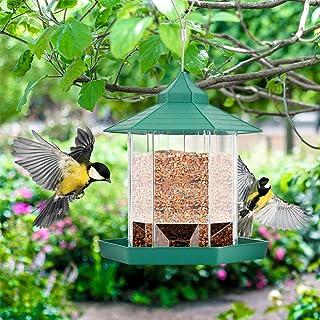 Eurobuy Bird Feeder, Hexagon Shaped with Roof Hanging Bird Feeder, Plastic Hanging Bird Feeder for Outdoor Garden Patio Ya...