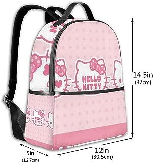 Classic School Backpack Hello Kitty Show Unisex College Schoolbag Travel Bookbag Black