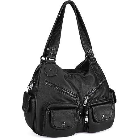 Damen Handtasche weiches Kunstleder Umhängetasche Große Schultertasche Damen Henkeltasche Reisetasche Hobo Taschen mit vielen fächern für Frauen Büro - Schwarz