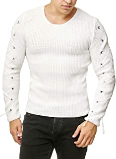 Leomodo Lace Up Solid Color Pullover Men Sweater