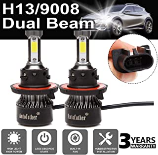 LED Headlight Bulb H13/9008 24000LM Hi/Low Beam All-in-One Conversion Kit COB Chips 6000K Cool White 4-Sides Beams Anti-flicker Beam HID or Halogen Headlight Replacement Plug & Play