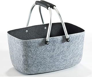 36x22x18 cm Filz grau schwarz Kobolo Filzkorb Einkaufkorb Korb Aluminium-Henkel