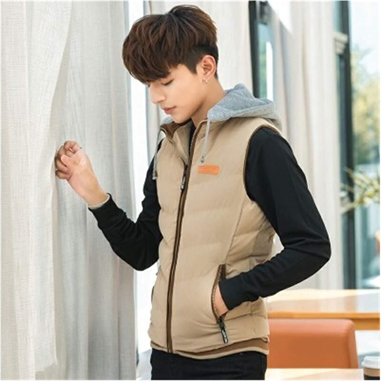 LYLY Vest Women Sleeveless Jacket Vest Jacket Mens Autumn Warm Sleeveless Jacket Hooded Winter Casual Waistcoat Men Vest Plus Coats Vest Warm (Color : Khaki, Size : XXL)