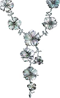 Palm Beach Jewelry Silvertone Flower Shaped Genuine Black Mother of Pearl, Y Neck Necklace (46mm), Lobster Claw Clasp, 18 inches