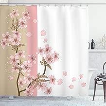 Ambesonne Japanese Shower Curtain, Romantic Sakura Blooms Flowers Petals Spring Wind Eastern Nature Theme, Cloth Fabric Bathroom Decor Set with Hooks, 70