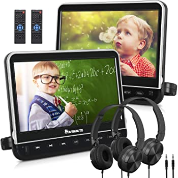 "NAVISKAUTO 10.1"" Dual Car DVD Players with 2 Headphones Mounting Bracket Support 1080P Video HDMI Input Sync Screen Region Free(2 x Headrest DVD Players)"