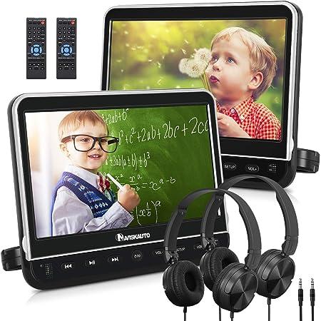 "NAVISKAUTO 10.1"" Dual Car DVD Players with HDMI Input 2 Headphones Mounting Bracket Support 1080P MP4 Video Region Free(2 x Headrest DVD Players)"