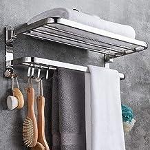 Handdoekenrek, Roestvrijstalen Badkamer Handdoekenrek Plank Opvouwbare Dubbele Wand Handdoekhouder Rails met Haken, 60cm