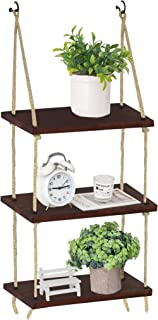 Oyydecor Wall Hanging Shelf, 3 Tier Distressed Wood Swing Storage Shelves Jute Rope Organizer Rack, Rustic Home Wall Decor (Brown)